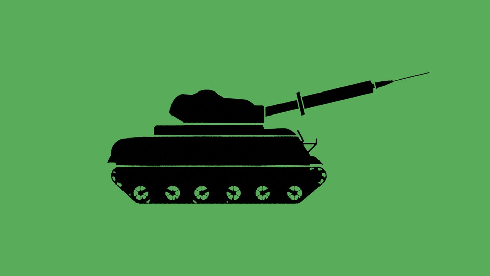 Illustration of a tank with a vaccine needle in the place of its gun
