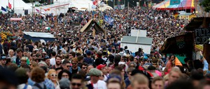 A crowd is pictured at the Glastonbury Festival.