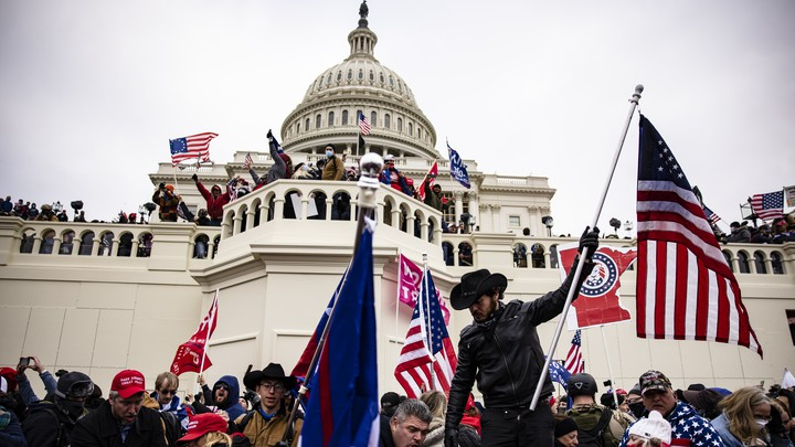 Insurrectionists at the U.S. Capitol on January 6.