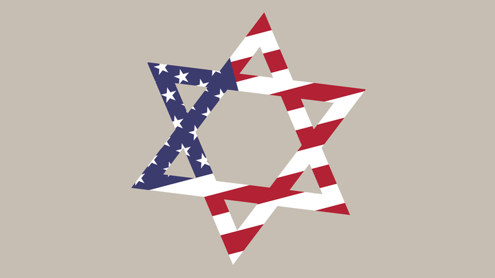 An illustration of the star of Israel with an American-flag pattern