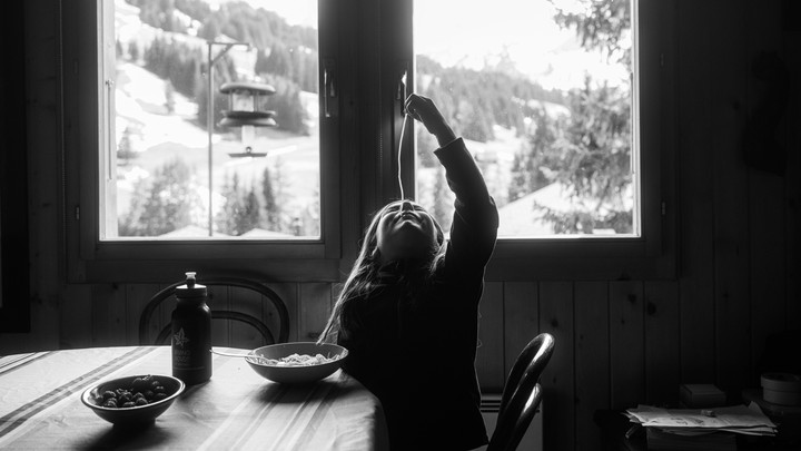 SWITZERLAND. April 15, 2020. Family quarantining in the mountains. Emma.