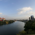 The Cumberland River flows past Nissan Stadium in Nashville in October 2016
