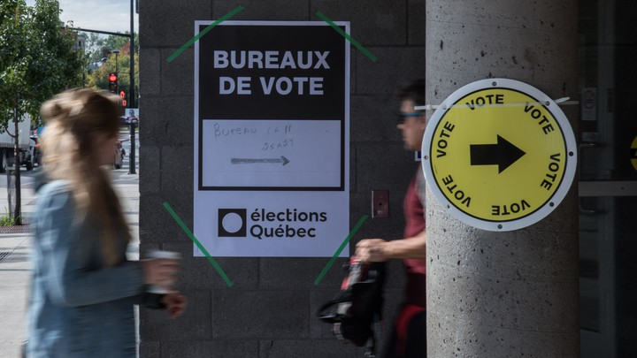A polling station in Quebec