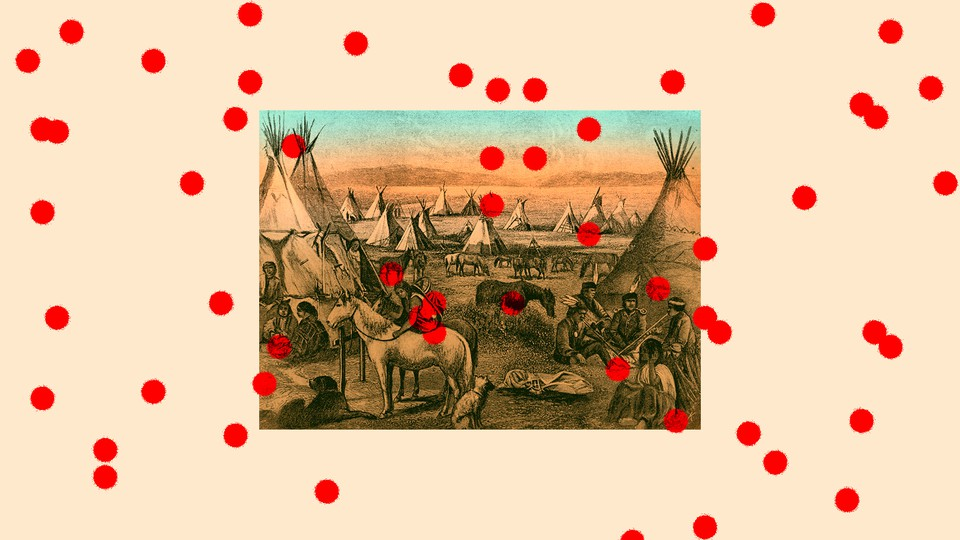 An illustration of Native Americans with red dots surrounding them.