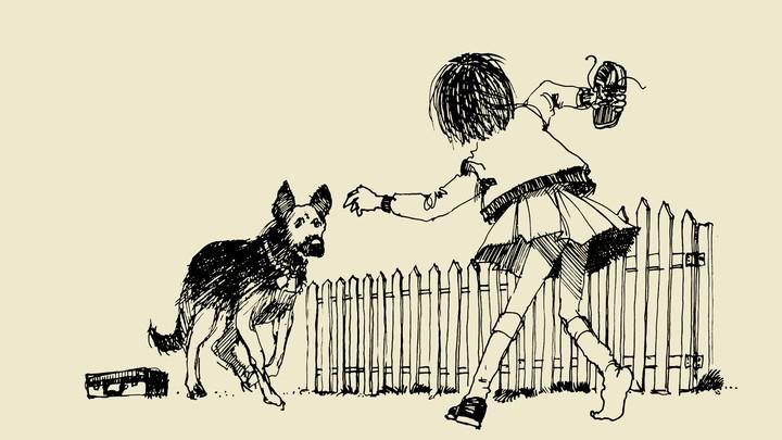 Ramona, a young girl, faces a dog.
