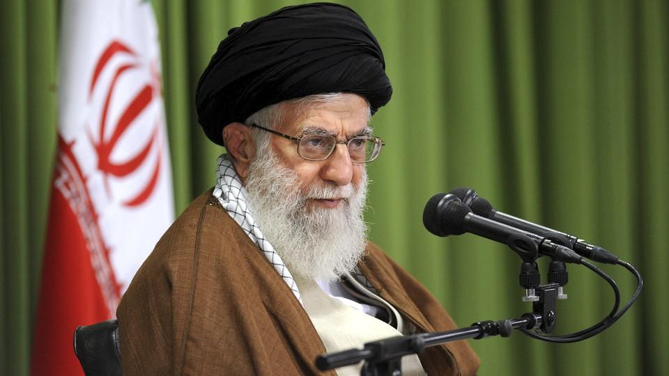 Ayatollah Ali Khamenei speaks at a meeting in Tehran in 2017.