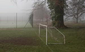 photograph of a soccer net