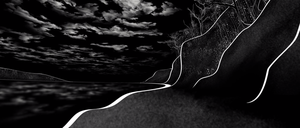 A black-and-white illustration of a shore, hill, forests, and clouds lets users concentrate on the sounds