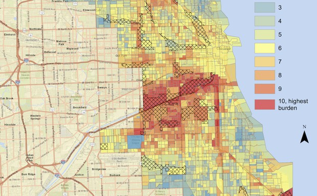 A color-coded map of Chicago reveals disparities in pollution levels.