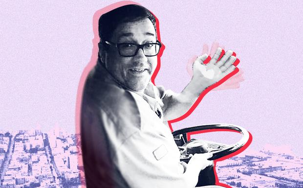A photo illustration of a San Francisco Muni bus driver.