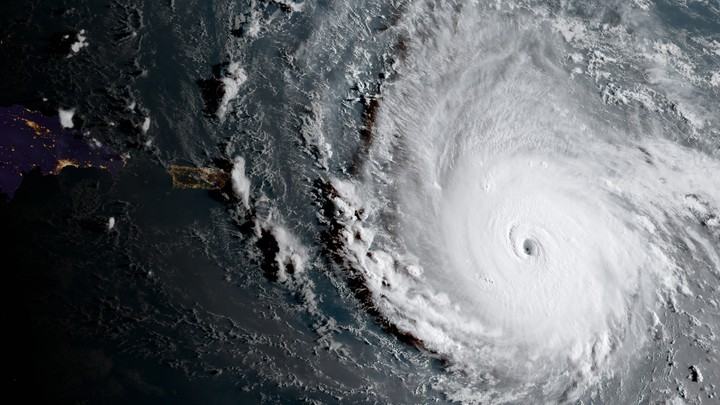 A satellite image of Hurricane Irma approaching Puerto Rico