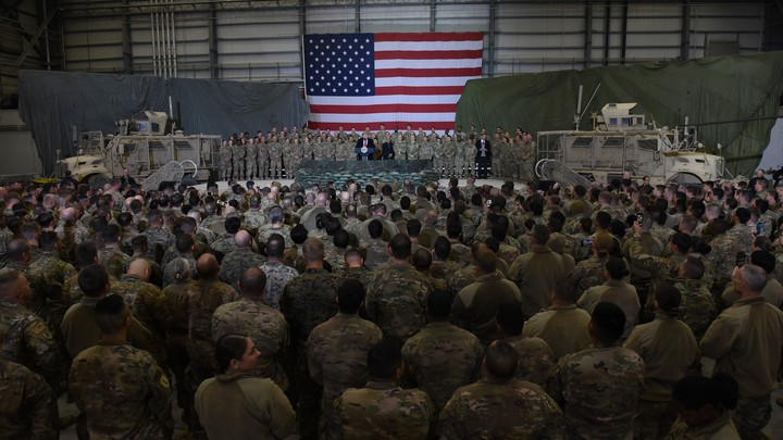 President Trump visiting U.S. soldiers in Afghanistan on Thanksgiving Day.
