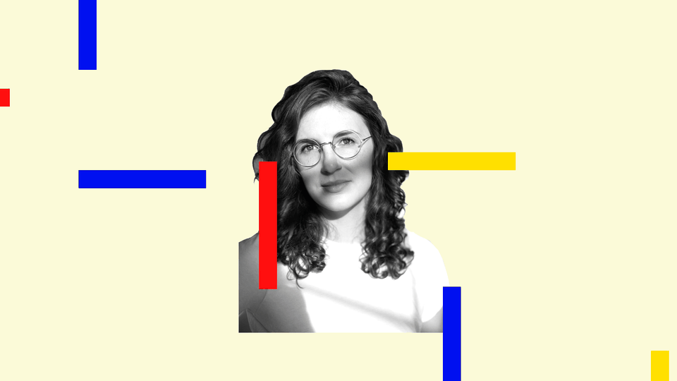 A portrait of Lauren Oyler with colored blocks