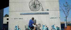 A bike-share station outside of Long Beach City Hall