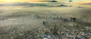 View of smog flying over Mexico City.