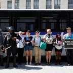 Protesters block a bus carrying police from moving after the acquittal of Jason Stockley.