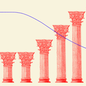 An illustration of an ascending graph and columns.