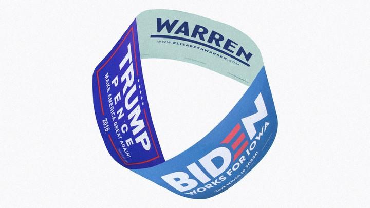 Warren, Trump, and Biden posters combined