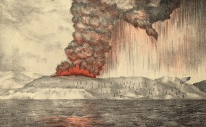 Painting of clouds pouring from the volcano on Krakatoa in south western Indonesia during the early stages of the eruption in 1883