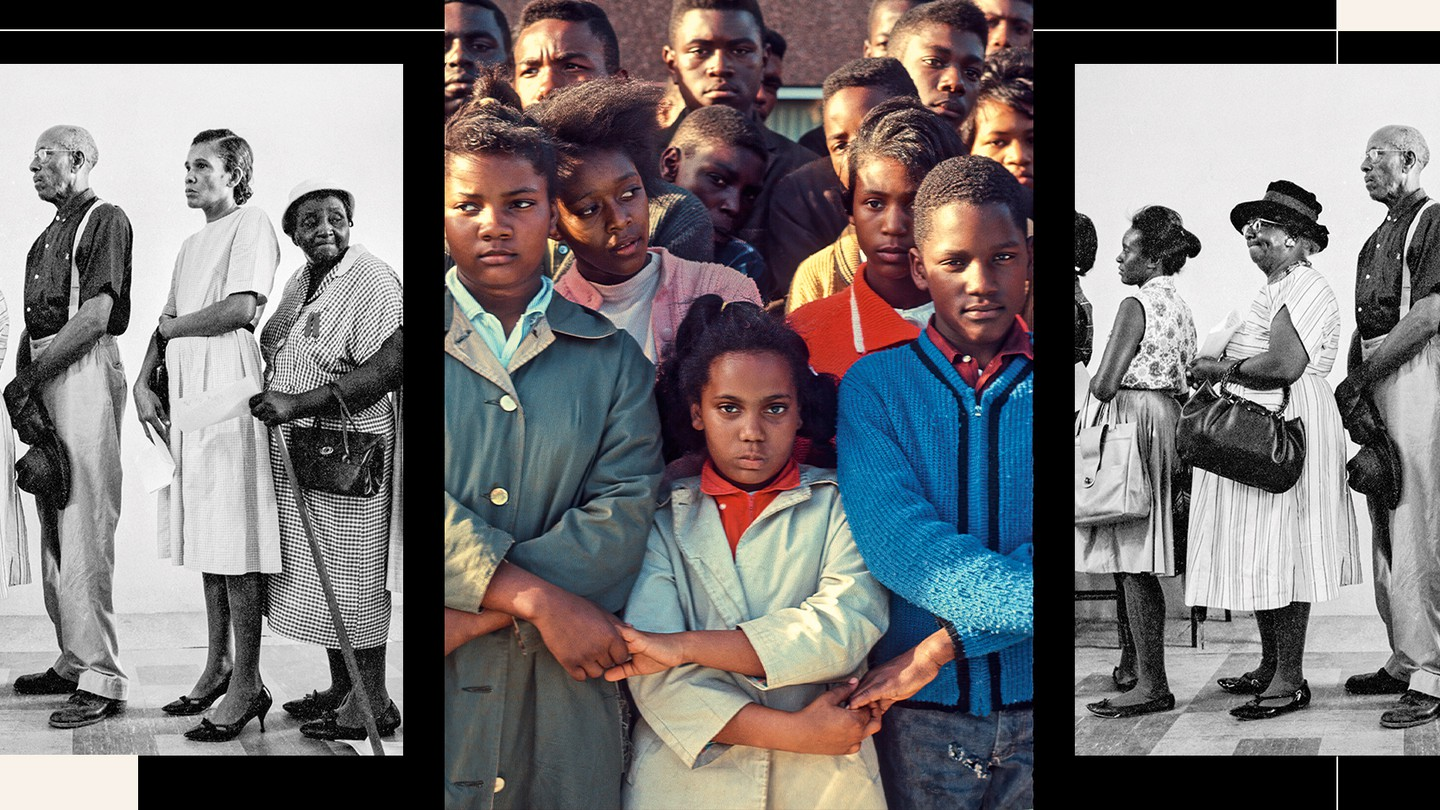 1965 color photo of young people protesting voting rights with black and white photo of voting line