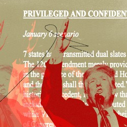 A photo illustration of a red-tinted Donald Trump lifting his arm in front of white text from a legal memo.