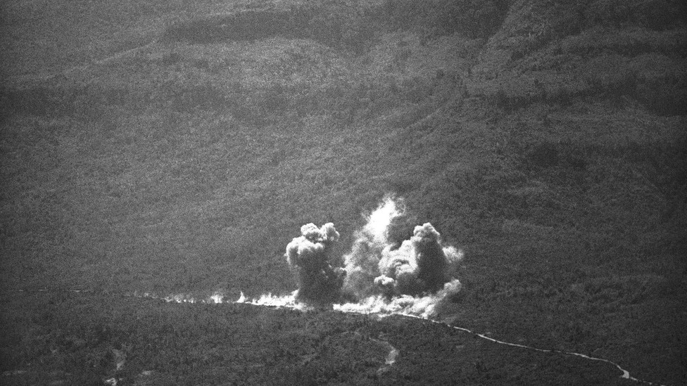 Smoke billows from bomb blasts along the Ho Chi Minh Trail in Laos on Feb. 11, 1971 as U.S. bombers pounded the area while supporting South Vietnamese.