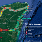 a map of the Mayan Train route in Mexico