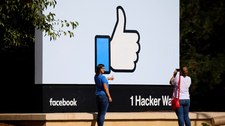 A giant sign outside Facebook's HQ