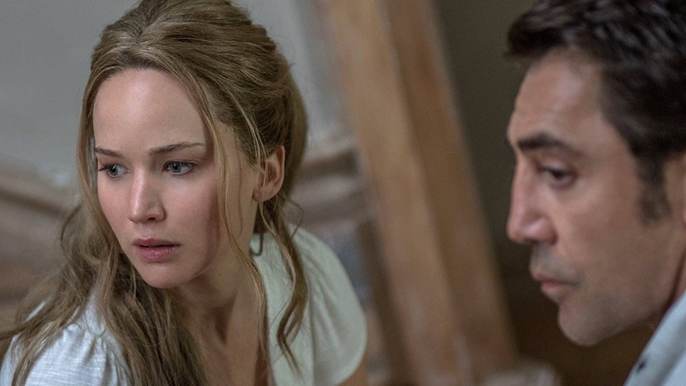 Javier Bardem and Jennifer Lawrence in a still from the film 'mother!'