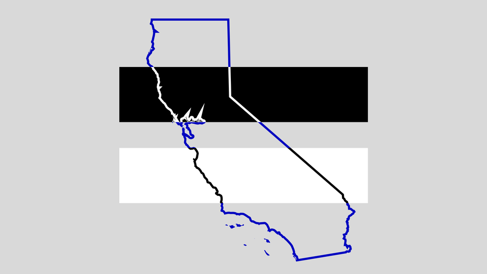 An illustration of the state of California with black and white color bars