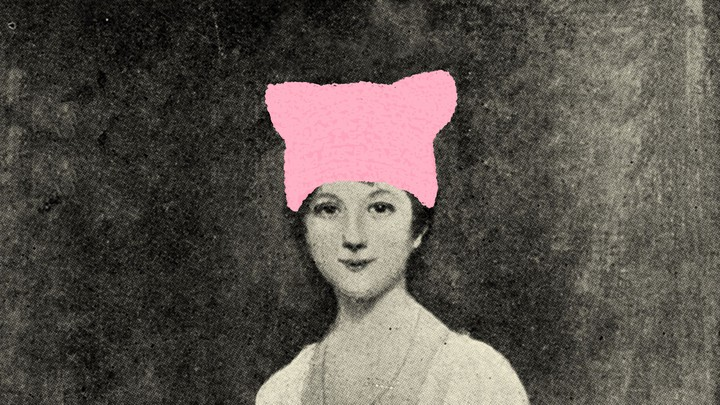 An image of Jane Austen with a pussy hat drawn on.