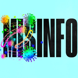 """The word """"misinformation"""" is set against a blue background, and """"mis"""" is covered with rainbow illustrations of a virus."""