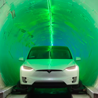 A photo of a Tesla Model X inside the Boring Company's demonstration tunnel in Los Angeles.