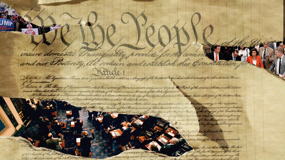 An illustration of the Constitution with photos of the impeachment proceedings superimposed on top.