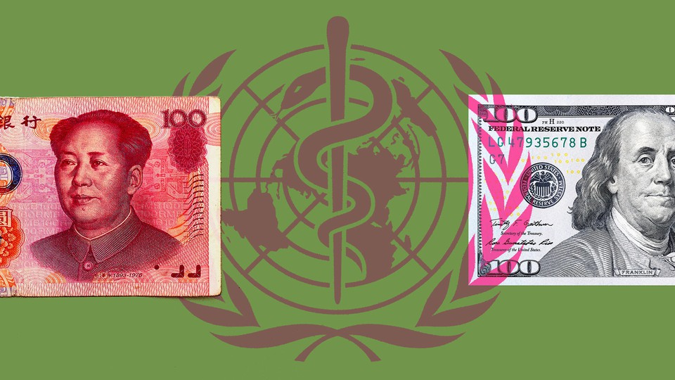 A picture of money from the United States and China on top of the WHO emblem.