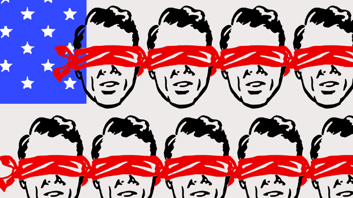 Illustration of blindfolded Americans
