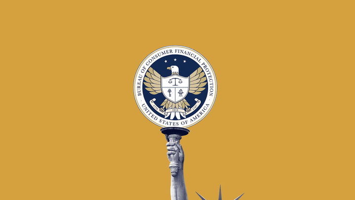 An illustration of Lady Liberty holding up the sign of the Consumer Financial Protection Bureau.