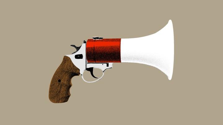 An illustration of a gun and a megaphone