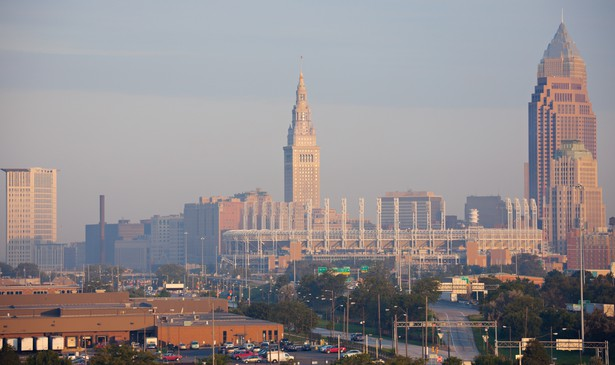 The skyline of Cleveland, Ohio, in the early morning