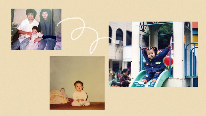 A collage of family photos showing little girls growing up