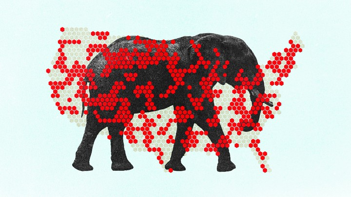 Image of map of U.S. with red dots and elephant