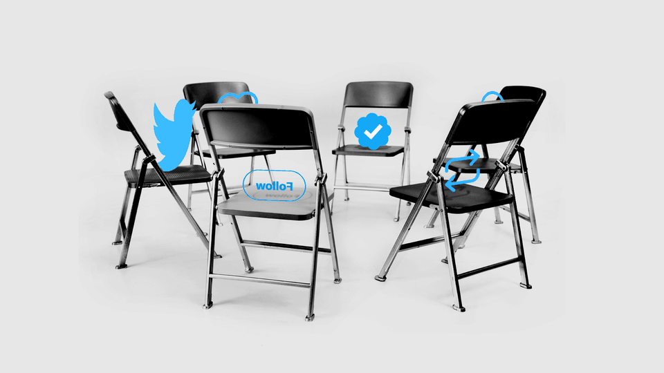 Twitter icons and buttons on folding chairs in a circle.
