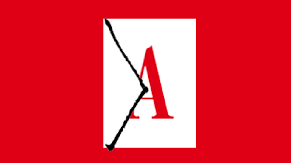 Red Atlantic 'A' on an envelope