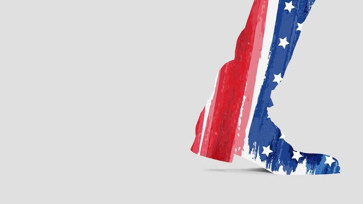 An illustration of a boot with an American flag print stepping away.