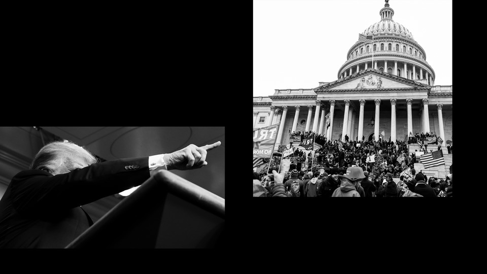 Trump pointing and the U.S. Capitol