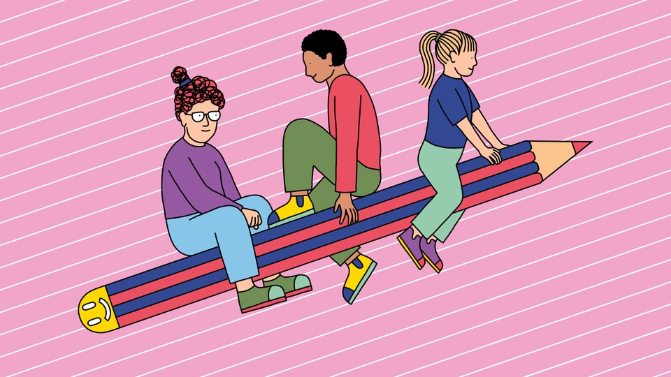 Illustration of three people riding a blue-and-red striped pencil like it's a rocket ship. The eraser is a smiley face.