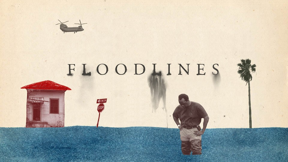 The logo for the podcast Floodlines