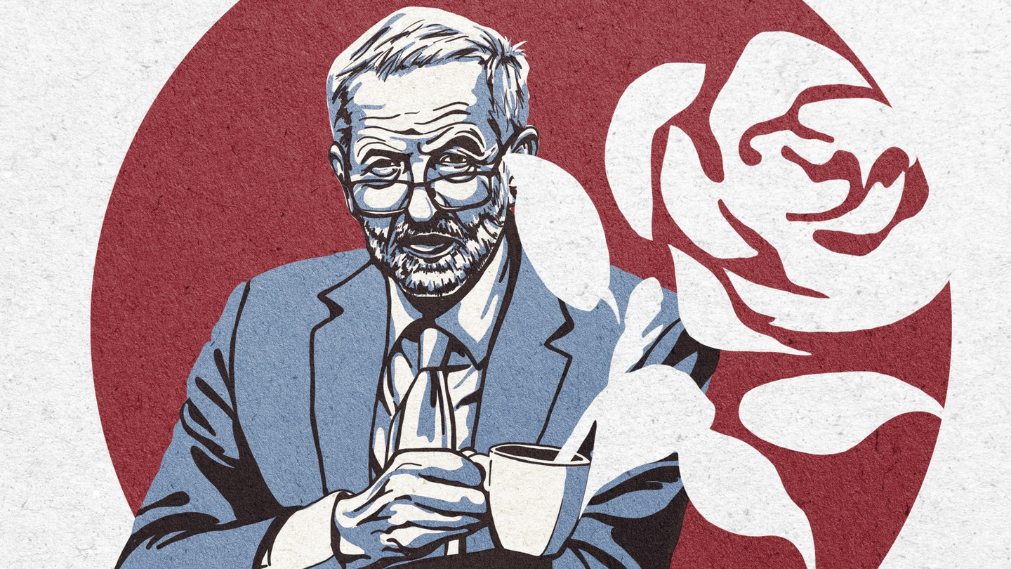 An illustration of Jeremy Corbyn holding a mug. The Labour rose logo rises from the cup as steam.