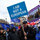 """A pro-Brexit protester holds a sign that reads """"I am not a European."""""""