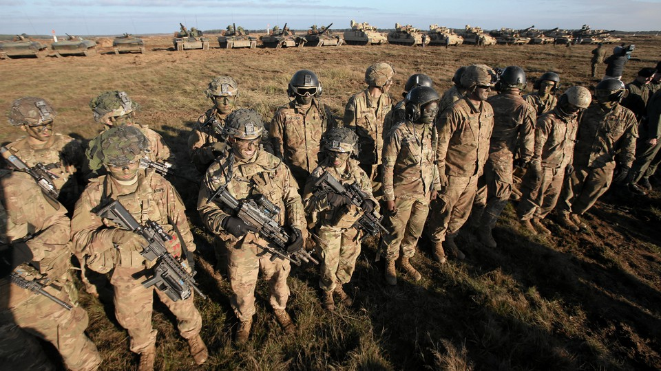 U.S. soldiers take part in a military defense exercise in 2018